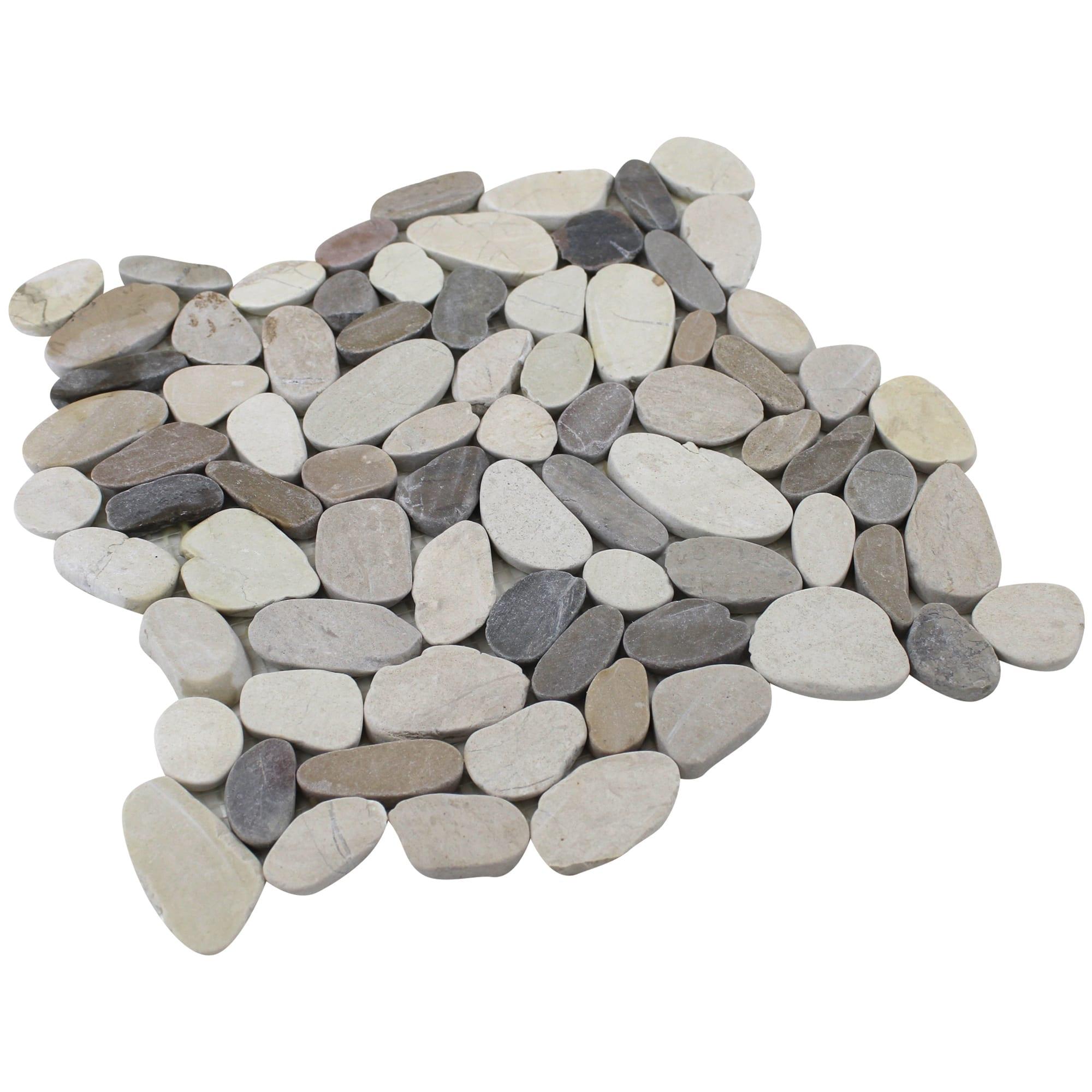 white grey tan sliced pebble tile