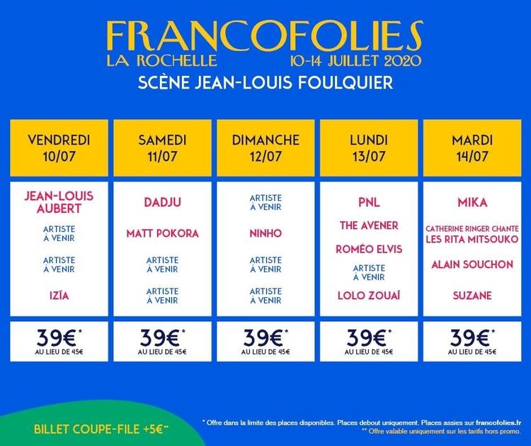 Francofolies 2020 - offre spéciale décembre