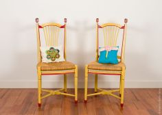 CHAIRS. Wood chairs and patchwork cushions. 2017