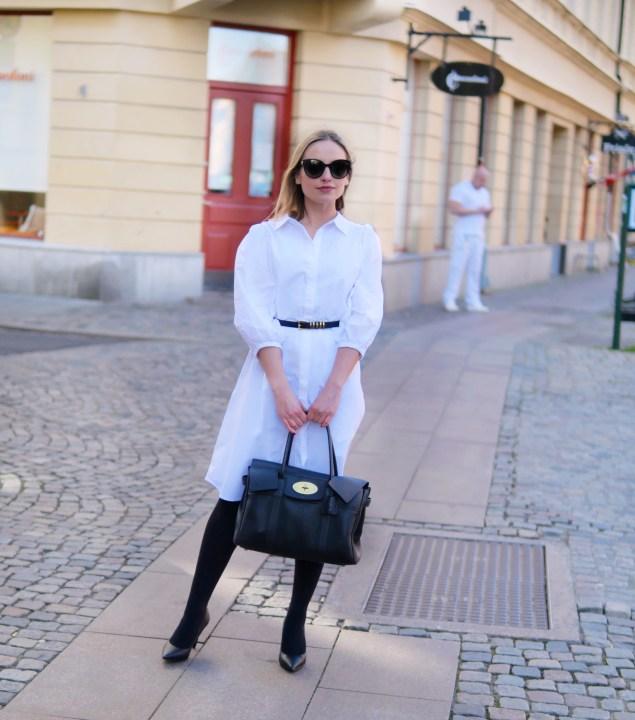 vit skjortklänning styling
