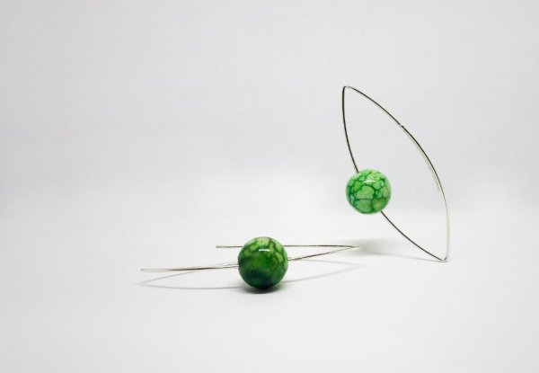 Pendientes verdes doble entrada