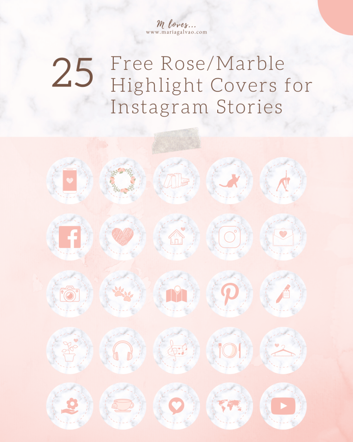 25 Free Rose-Marble Highlight Covers for Instagram Stories
