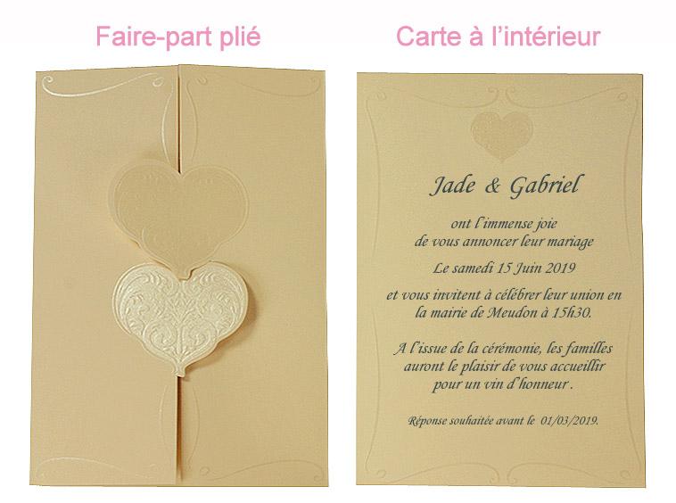 kit carte invitation faire part ivoire coeur relief x10