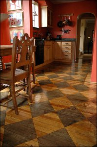 Hardwood Floor with Harlequin Diamonds