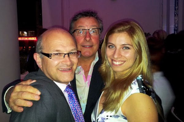 Mariah June at the 2012 London premiere of A Liar's Autobiography at the Empire in Leicester Square, UK with Rowland Rivron at an after party