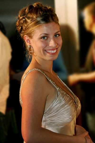 Mariah June as trophy girl at the Sunscreen Film Festival in 2009 in St. Petersburg, Florida in a gold dress