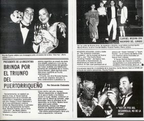 Artículo que reseña la participación del trío Serrano-Villafañe-Puente en el III Festival Iberoamericano de la Canción en Argentina en 1993.