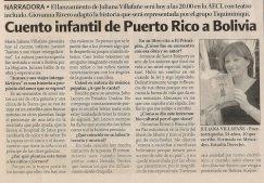 Noticia publicada en el periódico El Nuevo Día deBolivia el día miércoles 22 deoctubre de 2003.