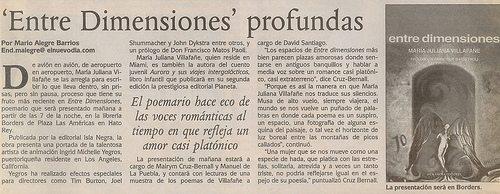 """""""Entre dimensiones profundas"""" - periódico El Nuevo Día (1992)"""