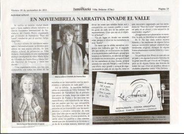 """""""En noviembre la narrativa invade el valle"""" - Diario Democracia Villa Dolores, Argentina (18 de noviembre de 2011)"""