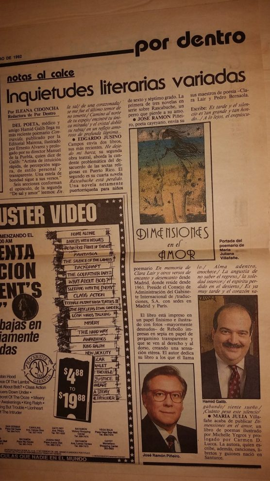 Nota de Ileana Cidoncha en el periódico El Nuevo Día, Puerto Rico (1992).