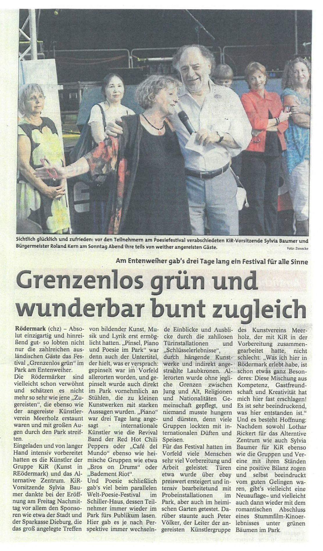 Recorte de prensa en Alemania sobre el Festival de Poesía, Música y Arte en Roedermark Park 2016