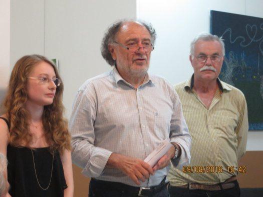 Translator Tabea Richert, Mayor Roland Kern and Peter Voelker
