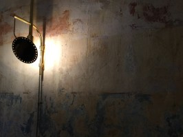 Particolare delle applique che illuminano la parete delabrè