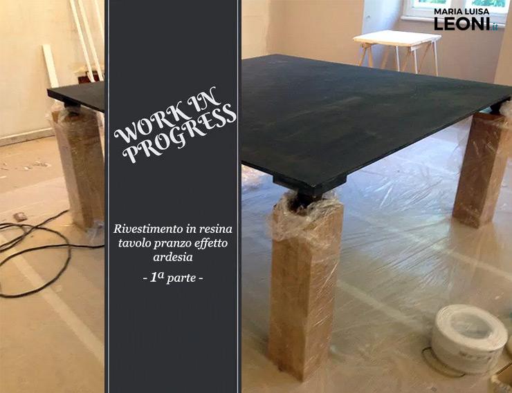 Rivestimento in resina effetto ardesia per un tavolo da - Rivestimento tavolo ...