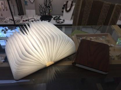 Una delle cose che mi è piaciuta particolarmente: un libro con copertina di legno, aperto una lampada con led...fantastico!