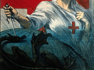 Still from Dis-Ease: A nurse stabbing a dragon encircling the world (Italian Red Cross Appeal for Tuberculosis, Wellcome Collection)