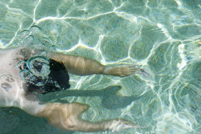 One Fit Male Swimmer Swimming Under Clear Sea Water on a Tropical Climate.