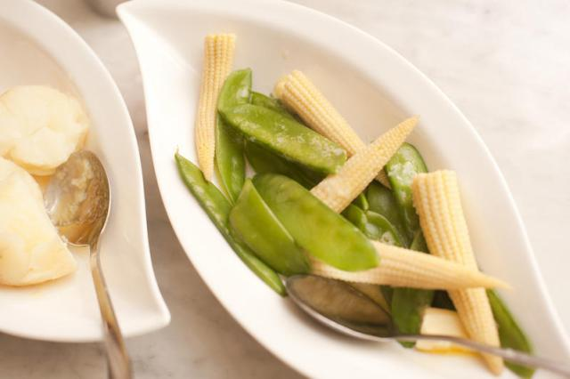 Vegetable side plate with mangetout and corn