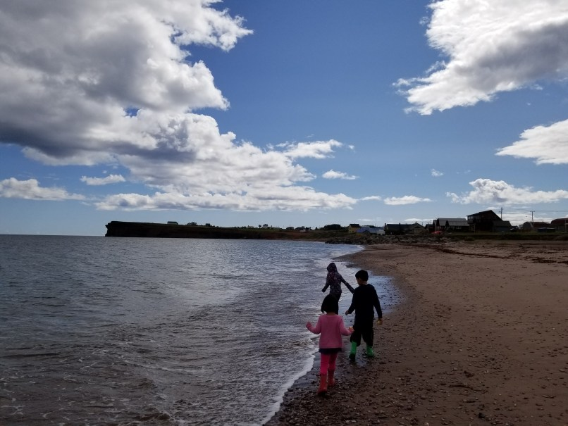 Three Children walking on beach