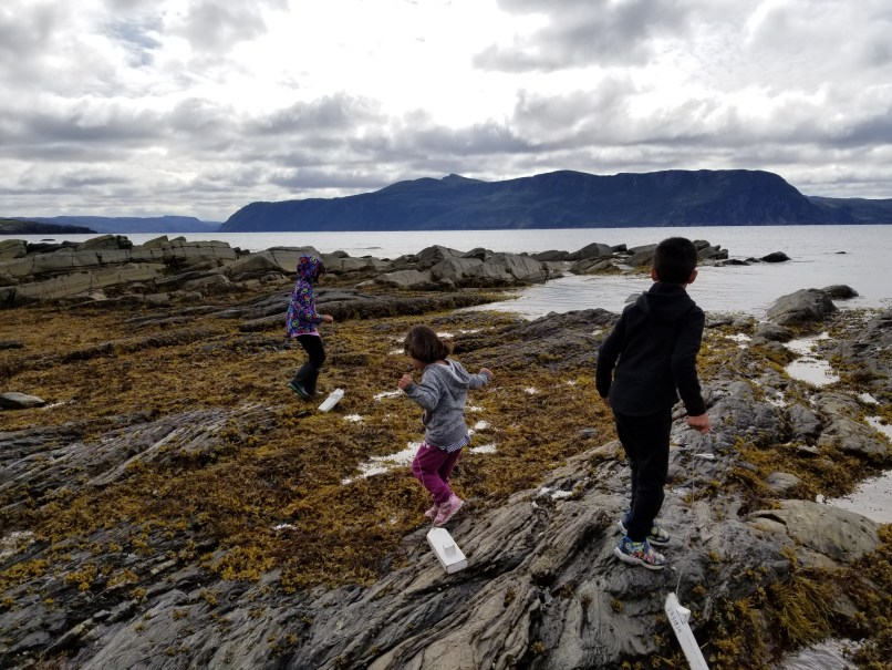 2 girls and 1 boy playing with wooden boats near the lightkeeper's home in Gros Morne National Park, www.marianamdougall.com