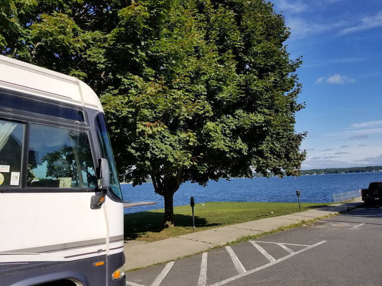 RV by the lake in Brockville; RVing with kids