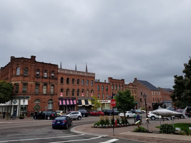 Charlottetown, PEI, buildings and a metal fish sculpture