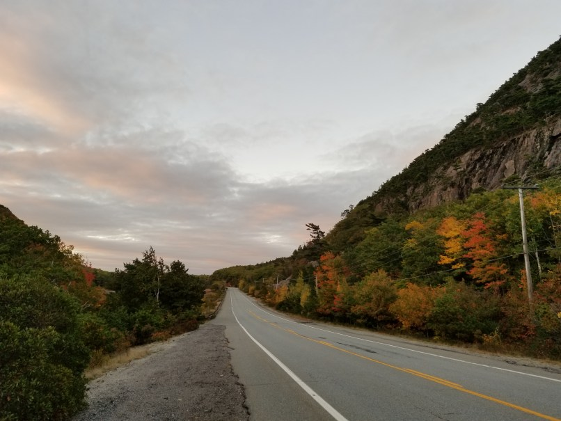 moutains and road in bar harbor, maine