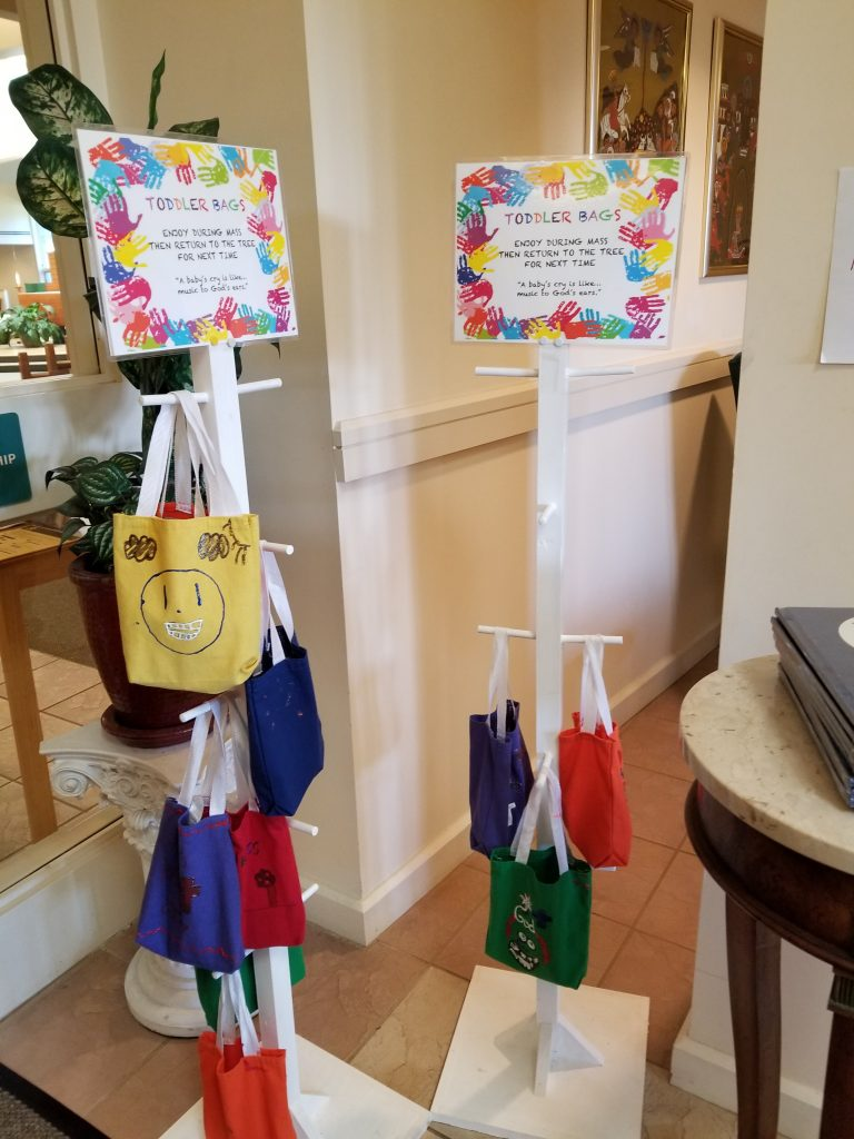 Toddler bags at St. Bartholomew's church, Cape Elizabeth, Maine