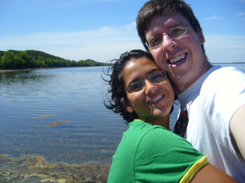 Couple hugging in Twillingate Newfoundland, 10 years ago (2008)