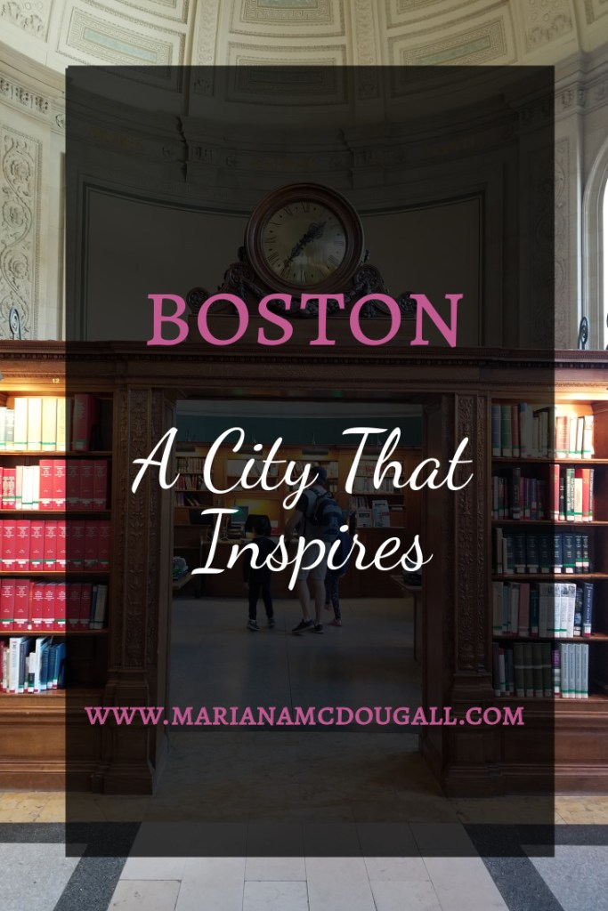 Boston, a city that inspires, www.marianamcdougall.com, photo of father and two children inside Elliot Room at Boston Public Library