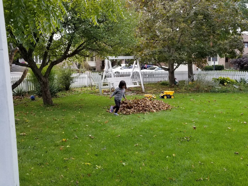 Girl jumping in leaves in a backyard, a swing and tree are in the background