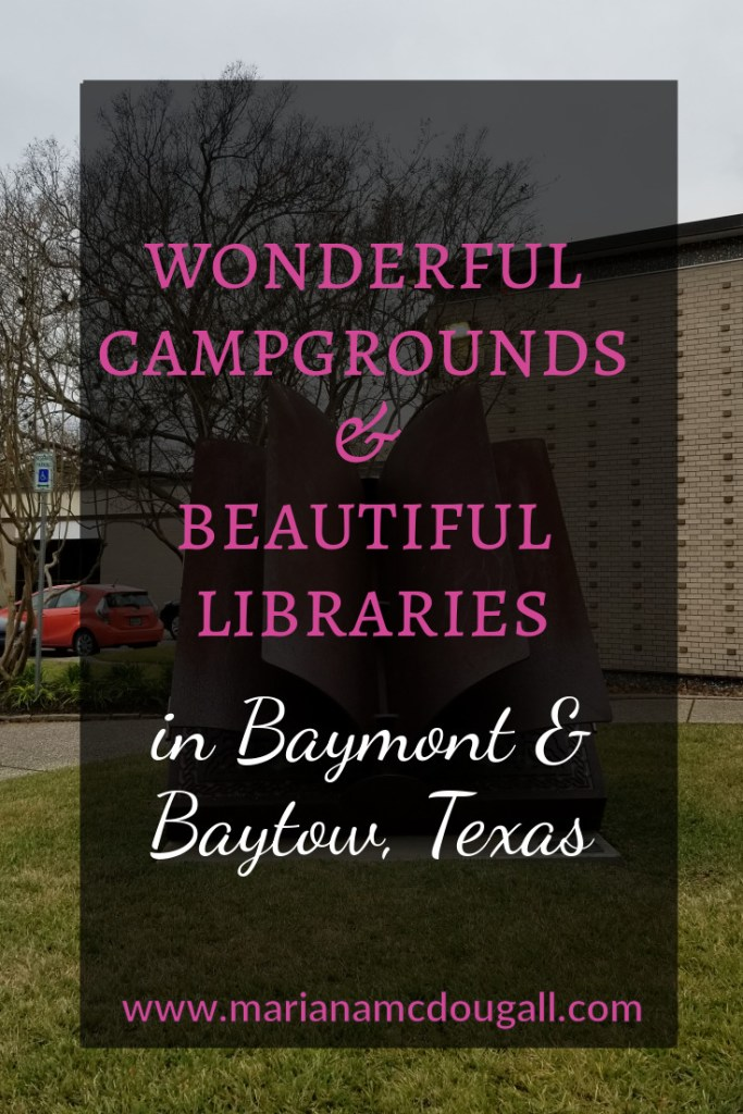 Wonderful campgrounds and beautiful libraries in baymont and baytown, texas, www.marianamcdougall.com. Picture of tree and book sculpture outside of the Sterling Public Library in Baytown.