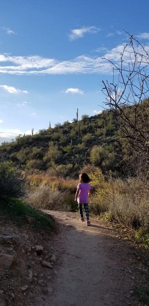 A 4-year-old girl is seen from the back, skipping down a trail at Tonto National Forest. There are plants on both sides of the rail. The girl is wearing a pink shirt, black and blue pants, and pink gym shoes.