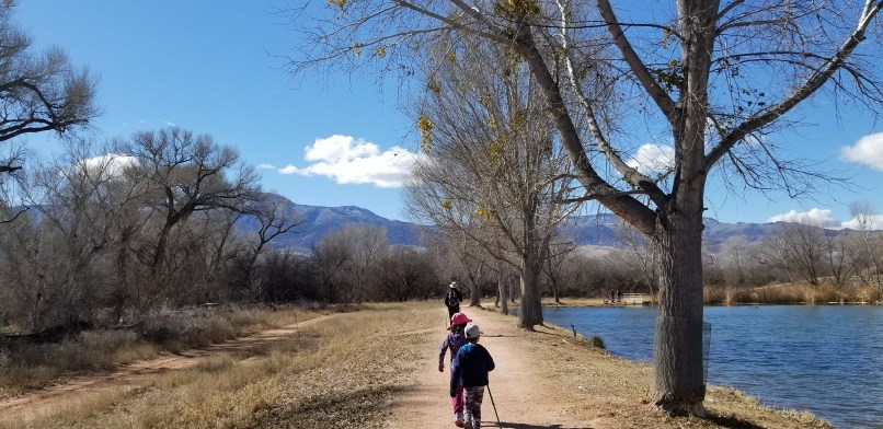 A father and three children hiking along a path. A lake is to the right, and mountains and trees are on the left. Hikers are walking in a line along the path. Photo taken by Mariana Abeid-McDougall at Dead Horse Ranch State Park in Cottonwood, Arizona.