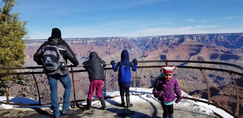 A father, his 9-year-old daughter, 6-year-old son, and 4-year-old daughter look out at the Grand Canyon.
