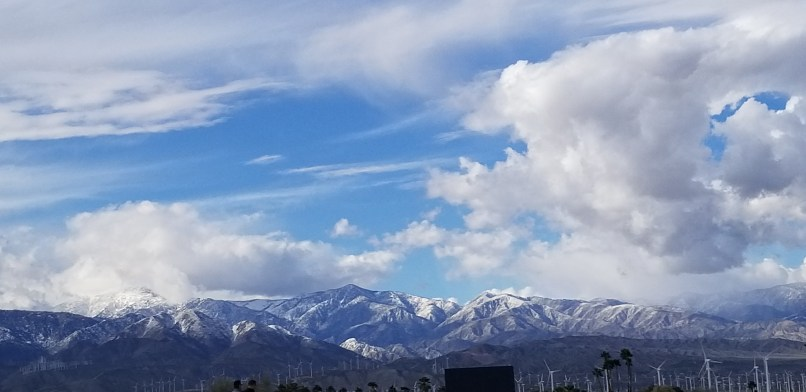 snow covered mountains in palm springs california