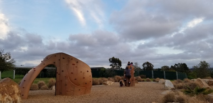 Playground at Sweetwater Summit Regional Park. Climbing wall visible.