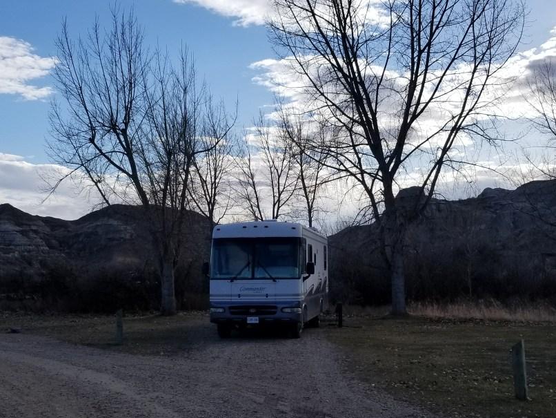 RV in campsite at Dinosaur Provincial Park