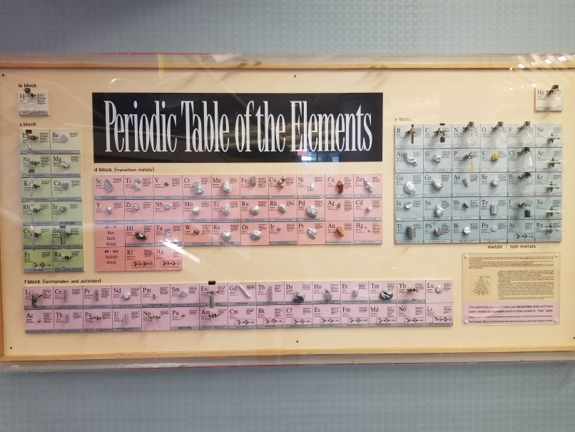 Periodic Table of the Elements showing each actual element in physical form, at the Saskatchwean Science Centre