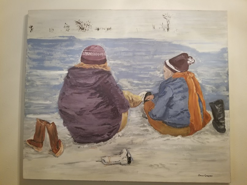 Painting showing two children sitting by the lake. Painting by James Casper.