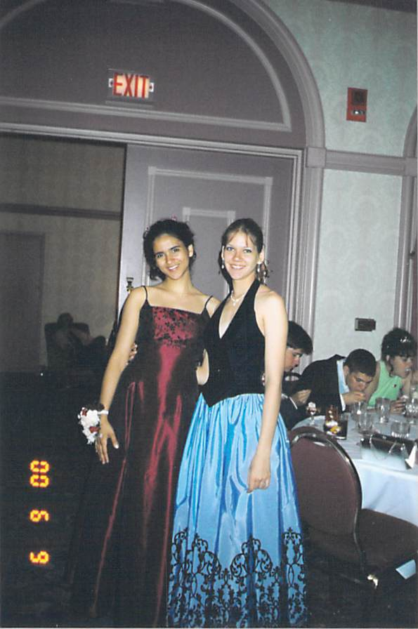 Aimee and Mariana at prom in 2000.