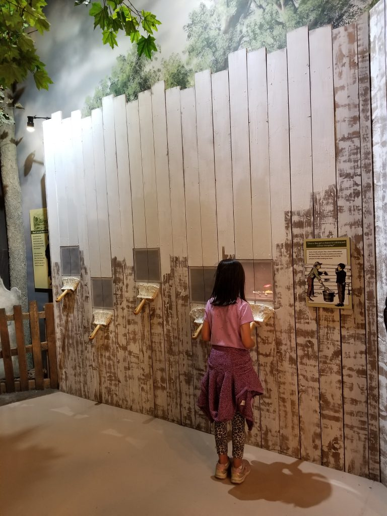 Girl standing in front of a display about Tom Sawyer's fence at the Mark Twain museum.