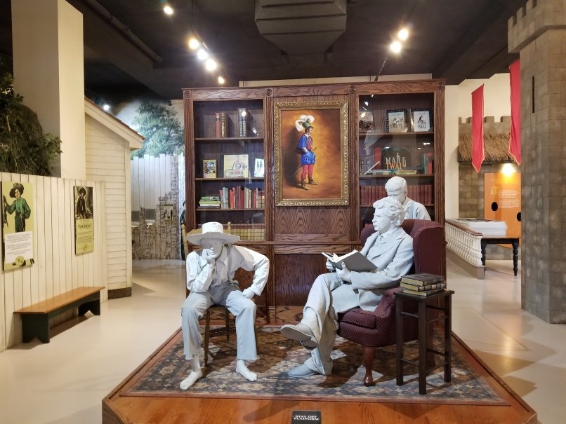 Statue of Mark Twain with Huckleberry Finn and Tom Sawyer at the Mark Twain Museum, Hannibal, Missouri.