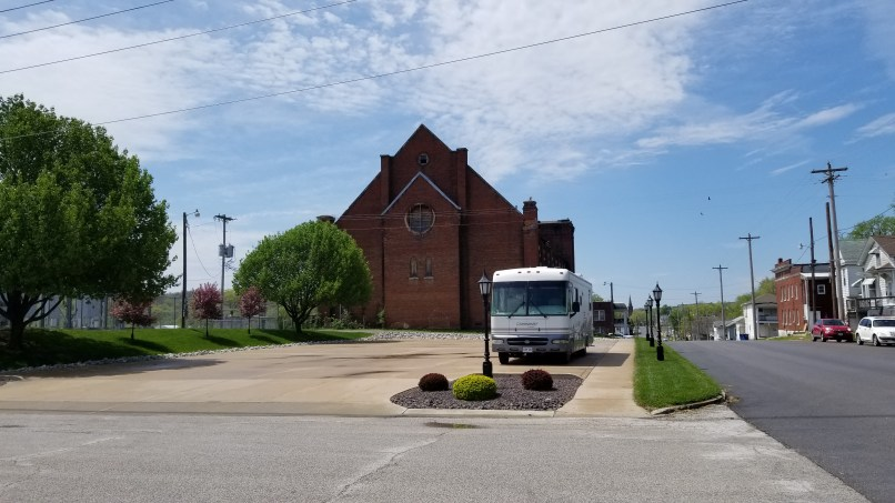 RV in front of a church