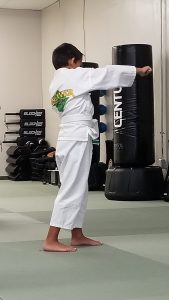 7-year-old boy in martial arts uniform, throwing a jab punch.