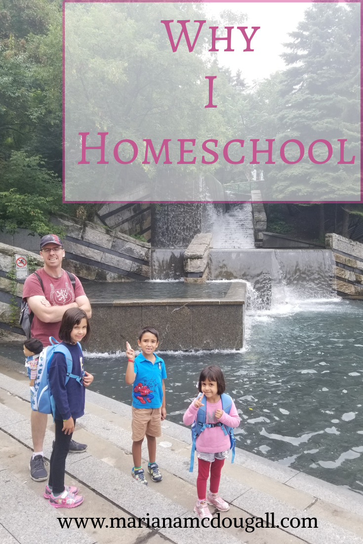 Why I homeschool, www.marianamcdougall.com. Photo of a father and three children standing in front of an artificial waterfall in Quebec City. Photo by Mariana Abeid-McDougall