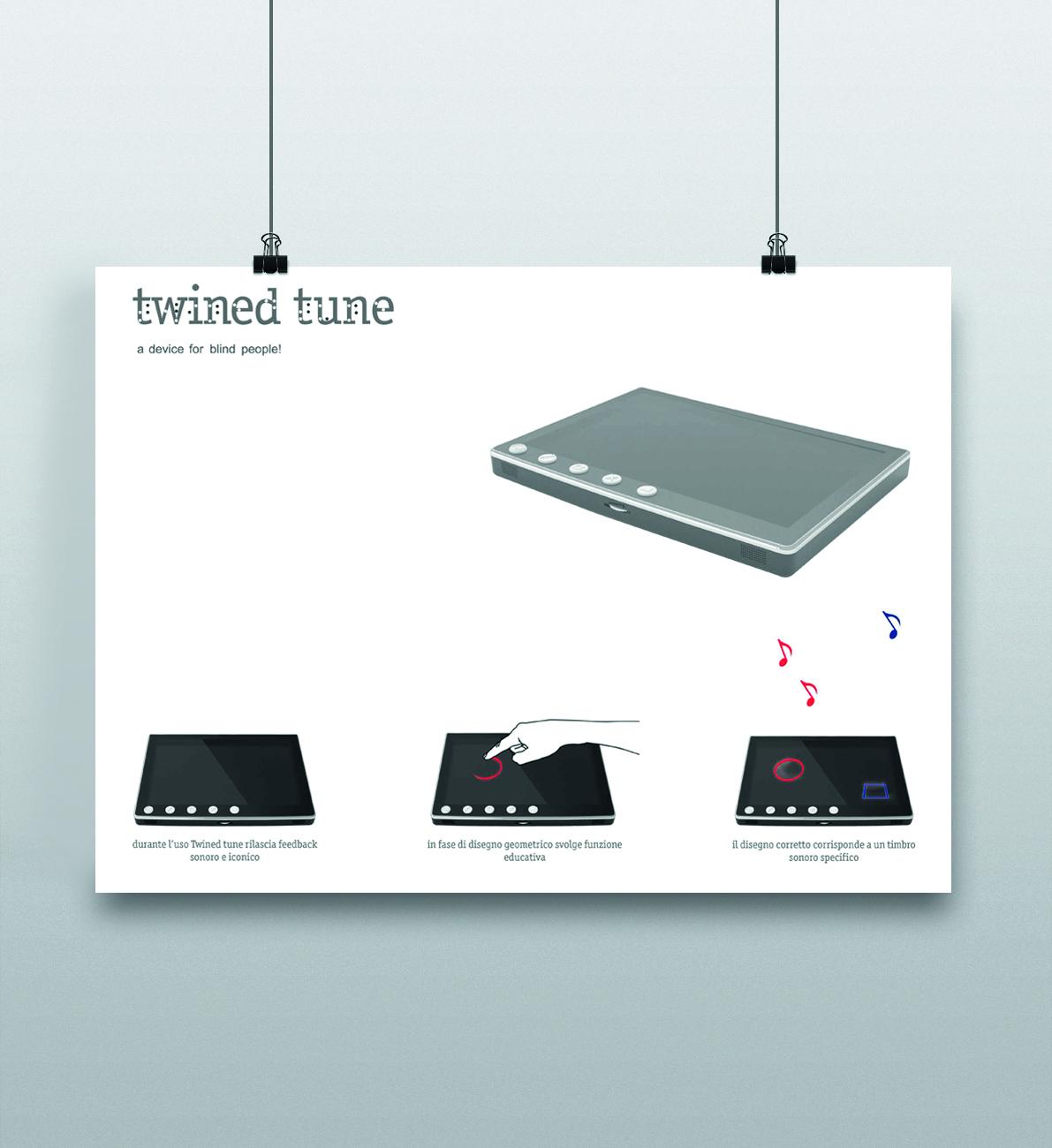 Poster di Twined tune dispositivo digitale per ipovedenti e ciechi