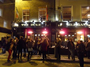Gathering outside The Duke Hotel