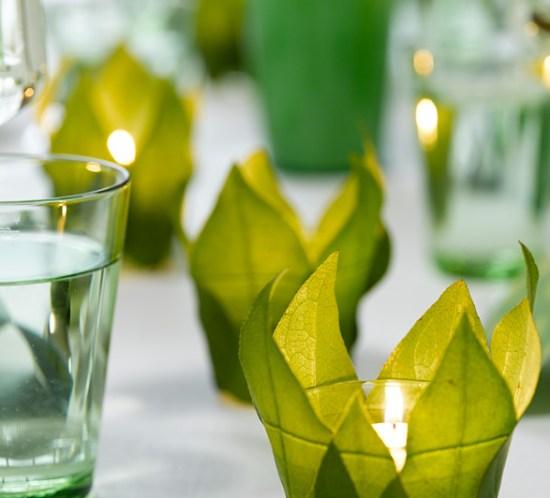 INTERIØRTIPS- DIY: Lag selv enkle lyslykter av grønne blader og små glass